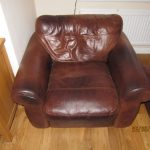 Aniline leather armchair before restoration